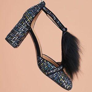 Bettye Muller T Strap Faux Fur Block Heel Shoes